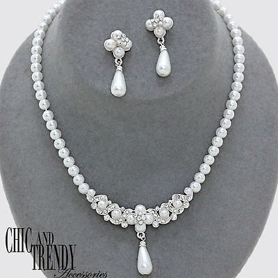 STUNNING WHITE PEARL CRYSTAL BRIDE PROM WEDDING FORMAL NECKLACE JEWELRY SET