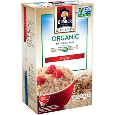 - (12 Boxes) Quaker Organic Original Instant Oatmeal Breakfast Food Cereal 8 Count