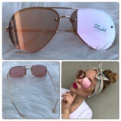 AYZA Damen Sonnenbrille Cat Eye Vintage Blaze Rosagold Pilotenbrille Verspiegelt