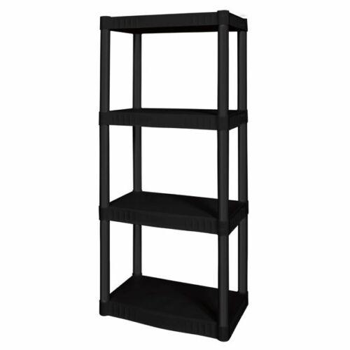4 Tier Plastic Garage Shelving Unit Sturdy Adjustable Storage Shelf Rack Shelves