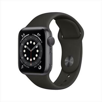 NIB APPLE WATCH SERIES 6 44MM GRAY ALUMINUM CASE BLACK SPORT BAND...