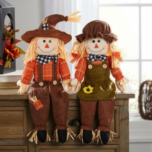 S/2 Sitting Scarecrows Way To Celebrate