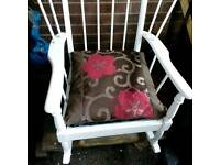 Lovely wooden rocking chair circa 1950s shabby chic