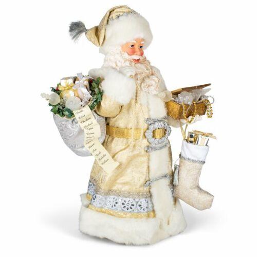 Large Mystical White Robed Golden Silver Santa Resin DecorativeTabletop Figurine