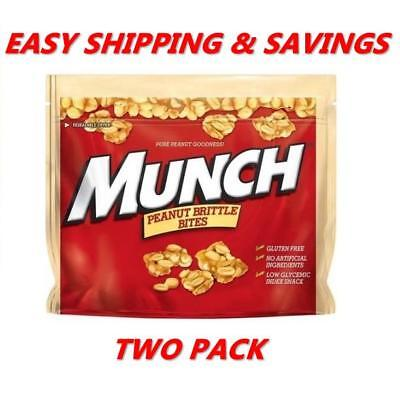 Munch Peanut Brittle Bites Caramel Candy 8 oz TWO PACK PER ORDER - EASY SHIPPING
