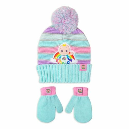 Cocomelon Toddler GIRLS 2T-5T Beanie Hat Mittens Set JJ Rainbow New With Tags