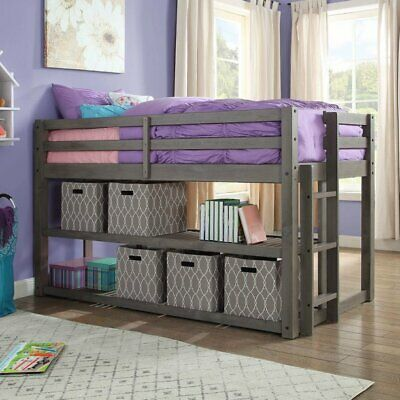 New Kids Solid Gray Wood Loft Twin Bunk Bed Frame with Under Bed Storage Shelves