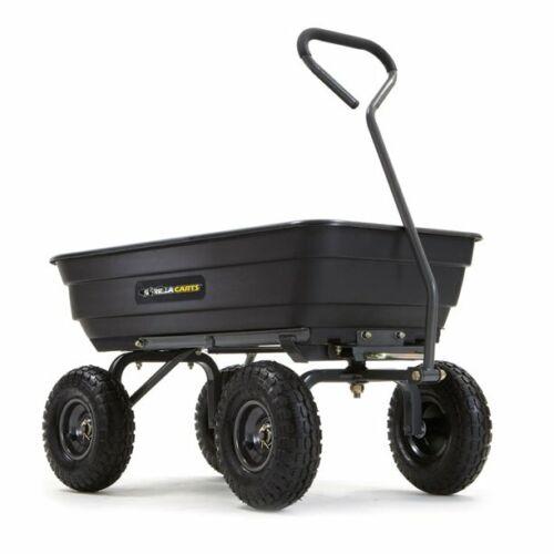 """Gorilla Carts GOR4PS 600-lb. Poly Garden Dump Cart with 10"""" Tires, NEW!"""