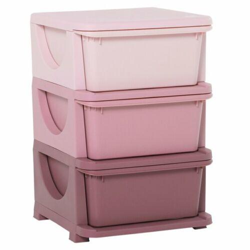 Qaba Kids Storage Unit Dresser Tower with Drawers 3 Tier Chest Toy Organizer for