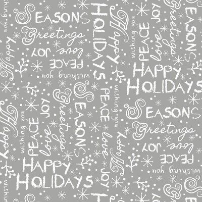 White Alpine Fabric (Christmas Fabric - Alpine Winter Words White & Gray - Wilmington)