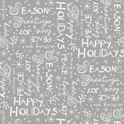 White Alpine Fabric (Christmas Fabric - Alpine Winter Words White & Gray - Wilmington)