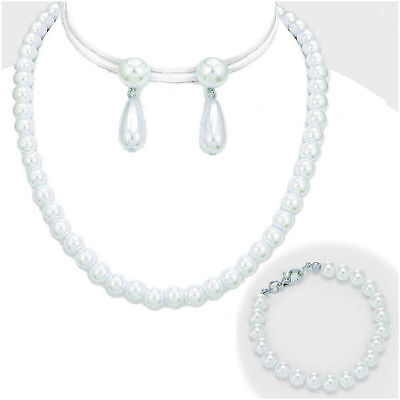 AFFORDABLE 3 PC WHITE PEARL BRIDESMAID WEDDING FORMAL NECKLACE JEWELRY SET