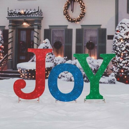 Christmas JOY LED Yard Art Lawn Outdoor Lighted Sign Word Display of Lights NEW