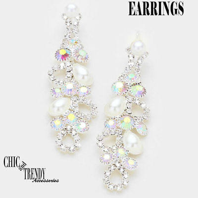 STUNNING WHITE PEARL & AB CRYSTAL EARRINGS BRIDE WEDDING FORMAL CHIC JEWELRY