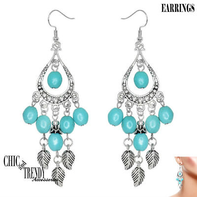 WESTERN TURQUOISE HOWLITE & ANTIQUE SILVER CHUNKY EARRINGS TRENDY JEWELRY