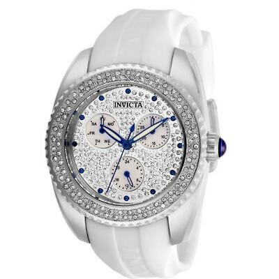 Invicta Angel 28482 Women's Mother of Pearl Pave White Silicone Band Watch