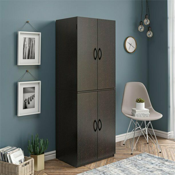 Tall Storage Cabinet Kitchen Pantry Cupboard Organizer Furniture Black Oak NEW