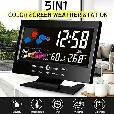 Desk Digital Alarm Clock Weather Thermometer LED Temperature Humidity Monitor US