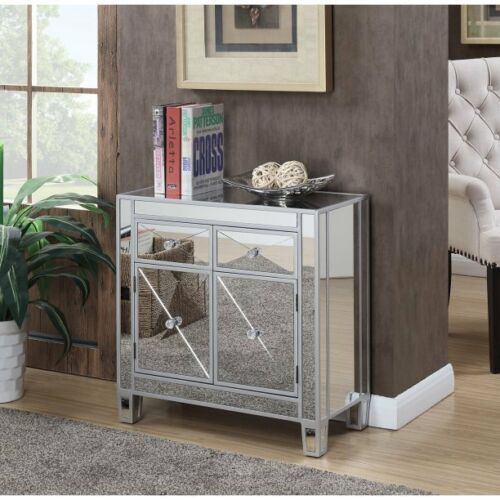 Mirrored Storage Cabinet Drawers Dresser Chest End Side Table Nightstand Crystal