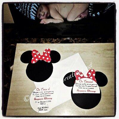 Custom Minnie Mouse Birthday Invitations (20 Custom Hand Made Minnie Mouse Birthday)