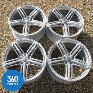 genuine audi 20 rs6 c6 5 segment spoke a6 alloy wheels silver rims 4f0601025. Black Bedroom Furniture Sets. Home Design Ideas
