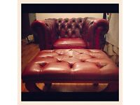 Chesterfield Oxblood Club Chair and Footstool