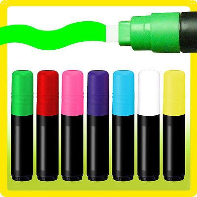 "7 Liquid Chalk Markers Set Neon Fluorescent Menu board Dry Erase - 10MM 3/8"" Tip"