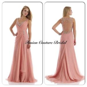 Blush Pink beaded evening gown prom dress