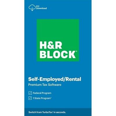 H&R BLOCK 2020 SELF-EMPLOYED RENTAL PREMIUM TAX SOFTWARE FEDERAL STATE CODE