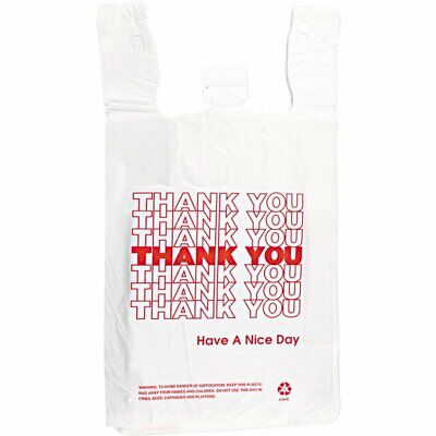 Thank You To Go White Plastic Shopping Bags 16 Bags-1000case