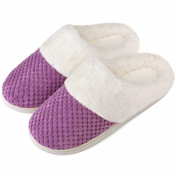 Womens Memory Foam Slippers House Shoe Fleece Fuzzy Plush Li