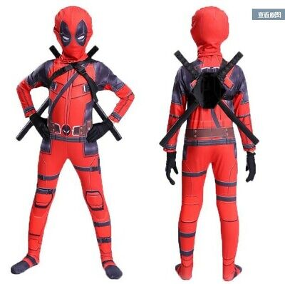 Deadpool Costume Halloween Man Cosplay Suit Kids Jumpsuit Mask Set One Piece New
