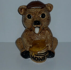 """Honey"" Bear Pot . Porcelain . Tongue is Spoon"
