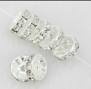 100 6mm crystal on silver jeweled wedding ring beads for Fishing wedding band