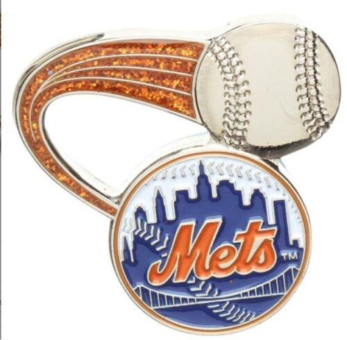 New York Mets Mlb Baseball Glitter Trail Design Sports Pin Licensed By Aminco