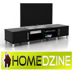 NEW BLACK LOWLINE TV CABINET ENTERTAINMENT UNIT TV STAND FURNITURE