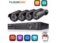 FLOUREON 8CH 1080P AHD DVR + 4x Outdoor 3000TVL 1080P 2.0MP Camera Security Kit UK