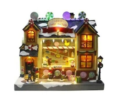 Carole Towne CT Musical & LED Lewis Candy Factory Village Houses Christmas NEW