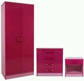 Bedroom wardrobes pink high gloss