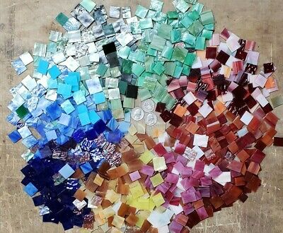 300 Colorful Hand Cut Stained Glass Mosaic Tiles. Buy 2 Orders Get 100 Free Tile