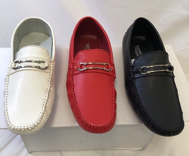 MEN GIOVANNI DRESS SHOES PROM LOAFER CASUAL STYLE SLIP-ON WHITE RED BACK M15-48