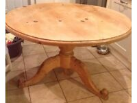 Round solid table great for shabby chic project