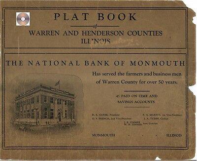 Warren & Henderson Co Illinois IL plat book genealogy  history land owners CD