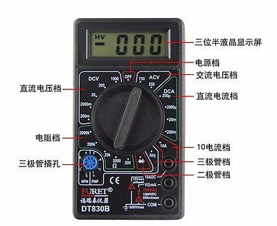 Tiny 830b Lcd Digital Multimeter Voltmeter Ammeter Ohmmeter Test Meter 19 Switch
