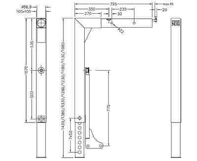 Stützbein für Wechselbrücke, A2, teleskopierbar, 1430 - 1080 mm lg.,