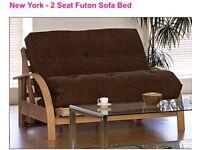 2 seater brown futon sofa bed
