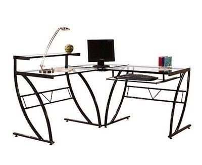 L-shaped Glass Black Computer Desk