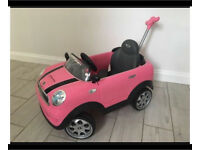 Pink Mini Cooper push along car