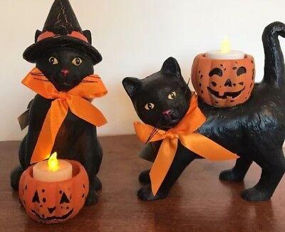Bethany Lowe Halloween Black Cat Voitve Holders—Set of 2–Retired—Votives Incl.