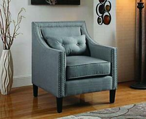 Accent Chair Fabric with Nailhead Details and Accent Pillow - Grey Grey
